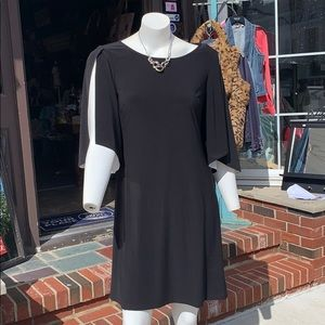 Black arm slit dress